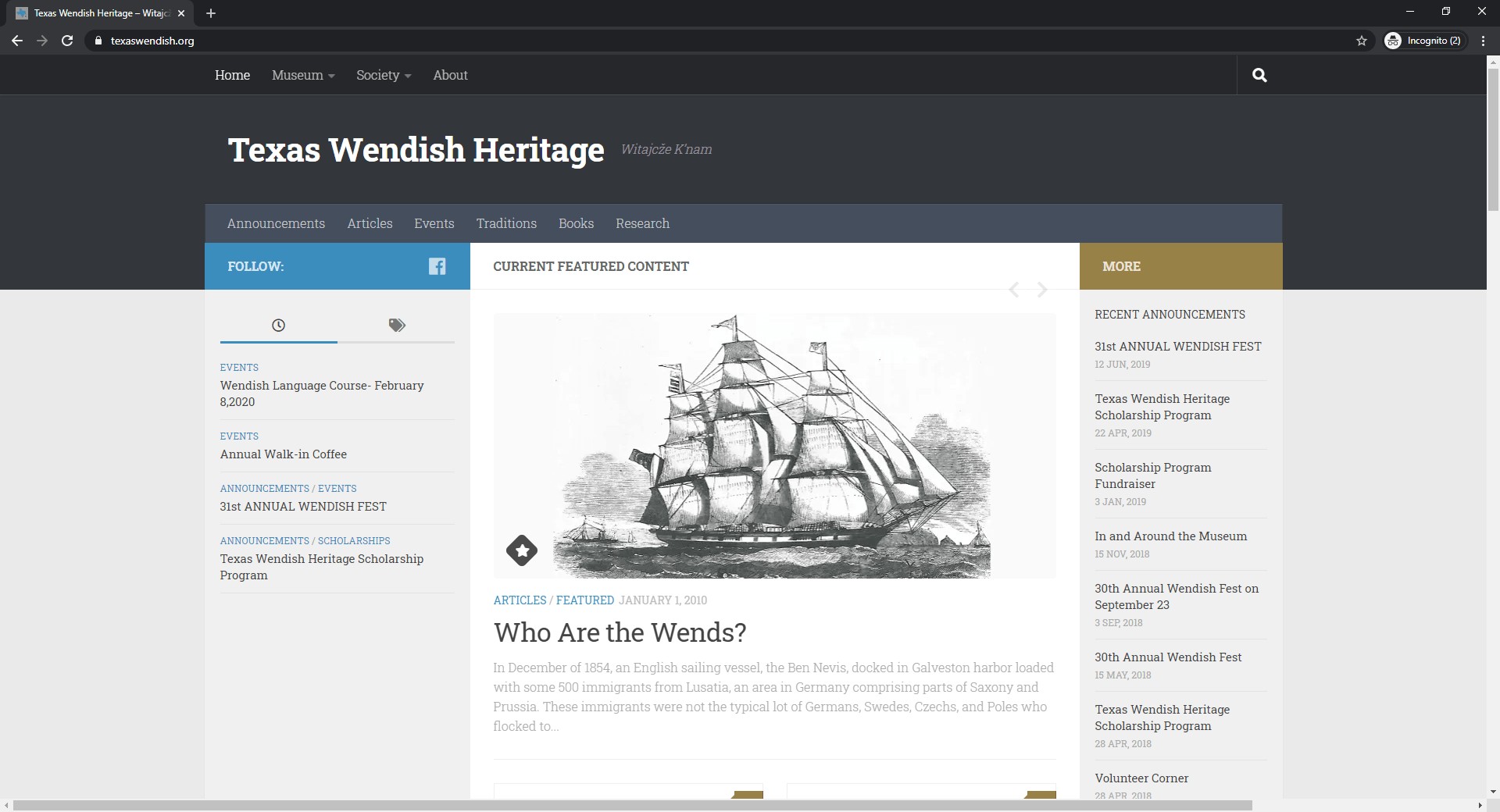 Screenshot of texaswendish.org