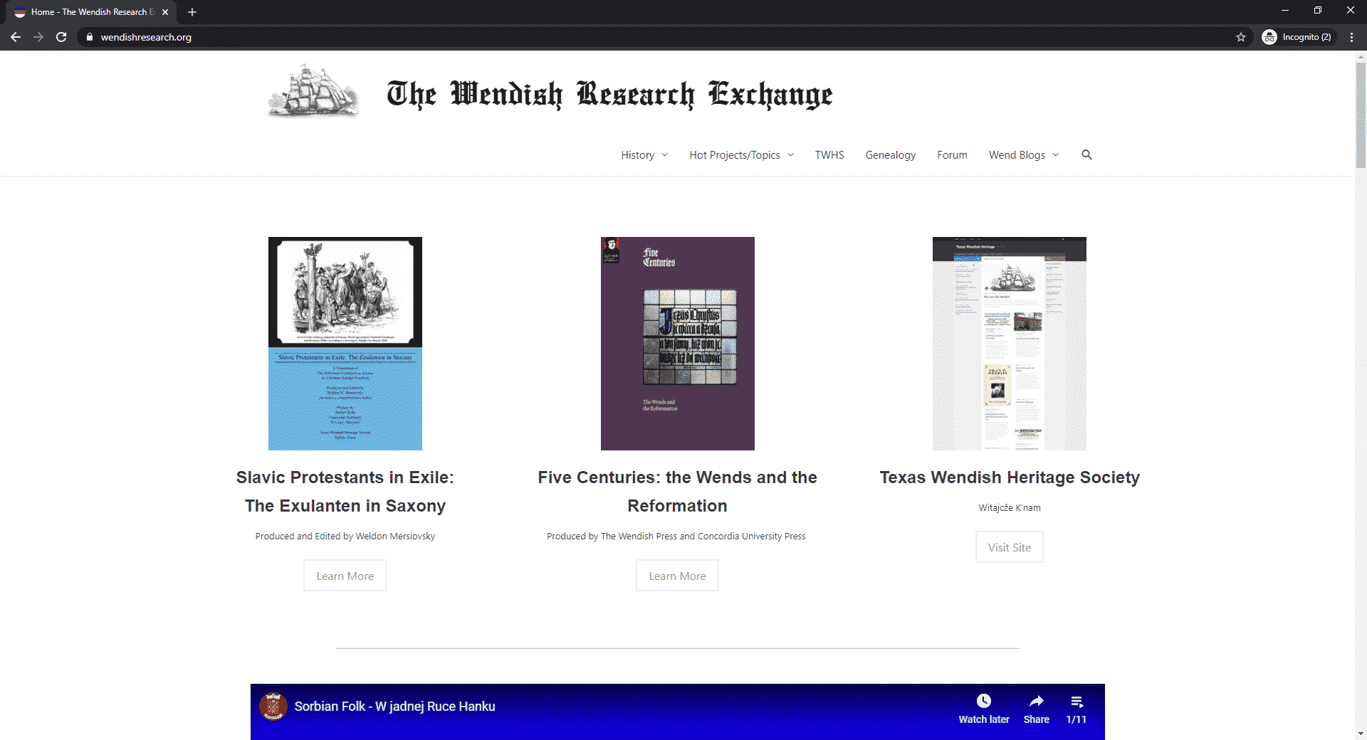Screenshot of wendishresearch.org